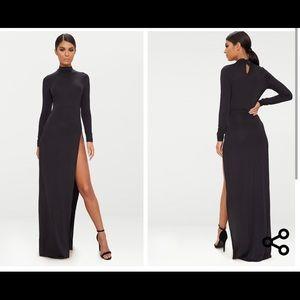 PRETTLY LITTLE THING Black Long Sleeve Maxi Dress
